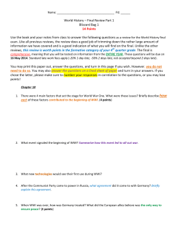 World History – Final Review Part 1 Blizzard Bag 1 14 Points Use