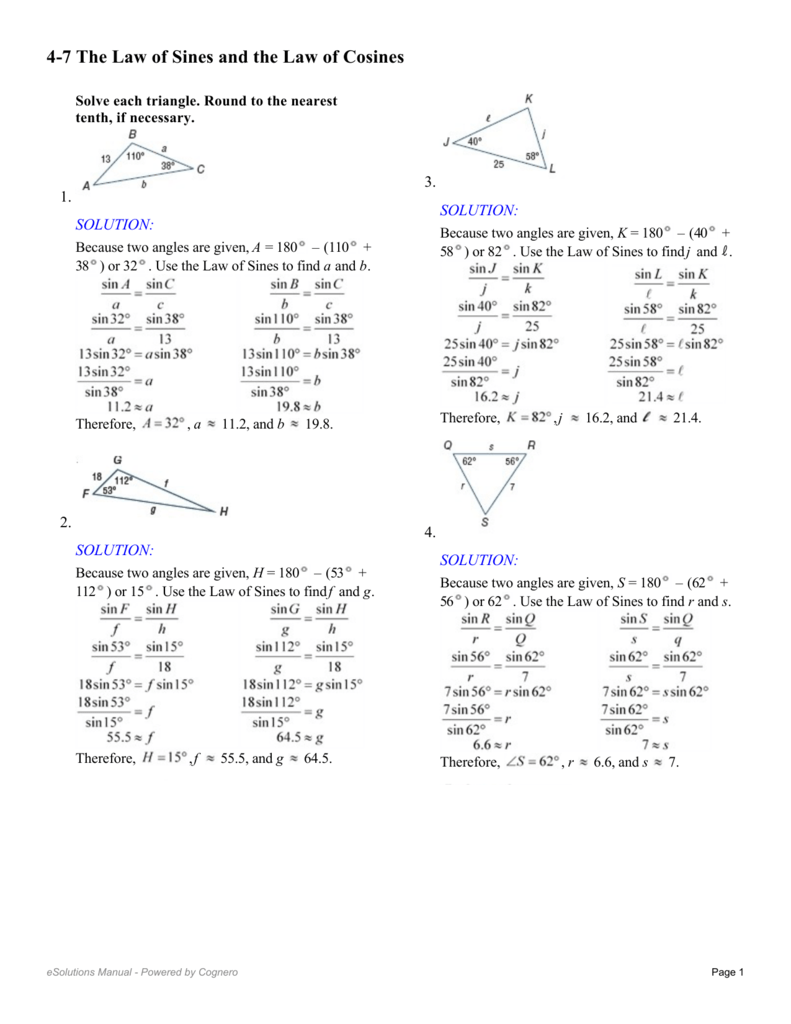 worksheet Law Of Cosine Worksheet 4 7 the law of sines and cosines