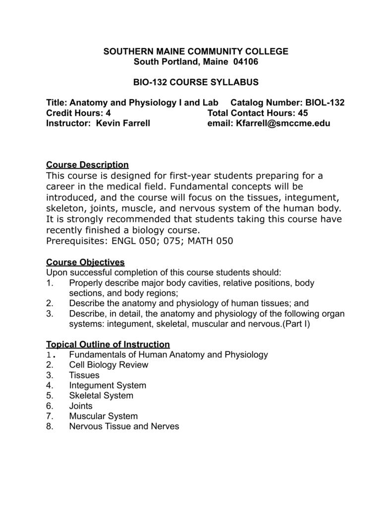 SMCC Anatomy and Physiology I SUMMER2014