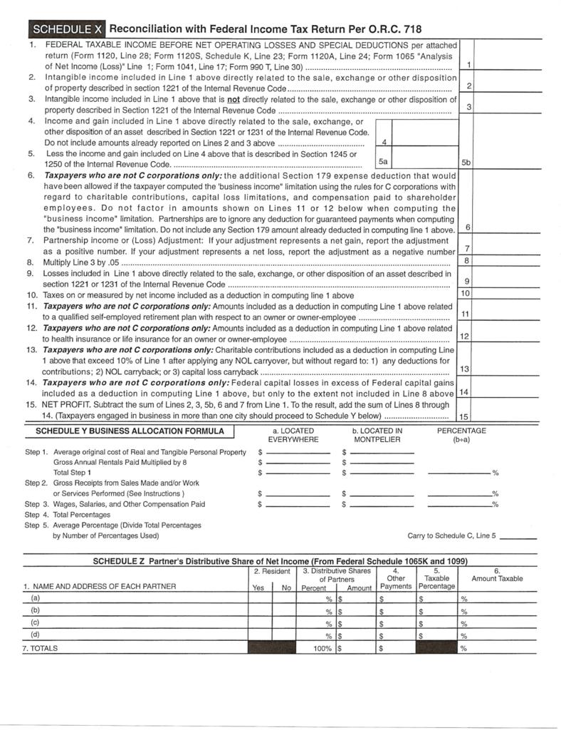 form 1065 line 24  Schedule X
