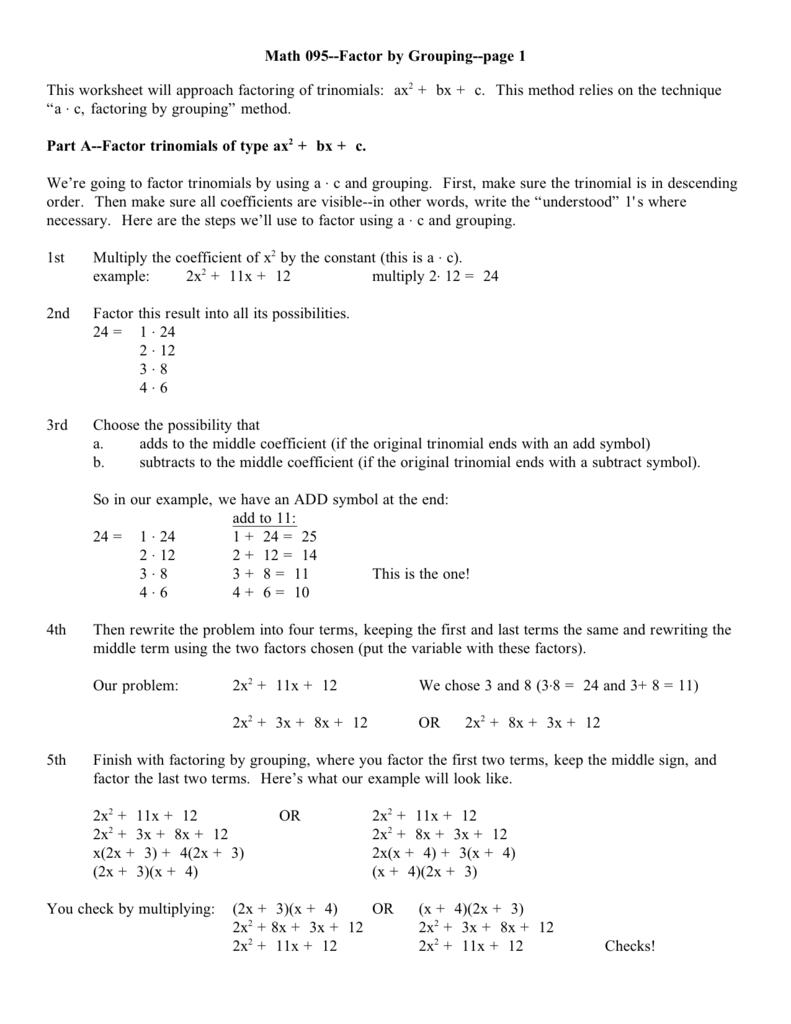 Worksheet Factoring By Grouping Worksheet Worksheet Fun Worksheet