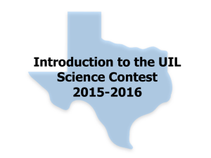 Introduction to the UIL Science Contest 2015-2016