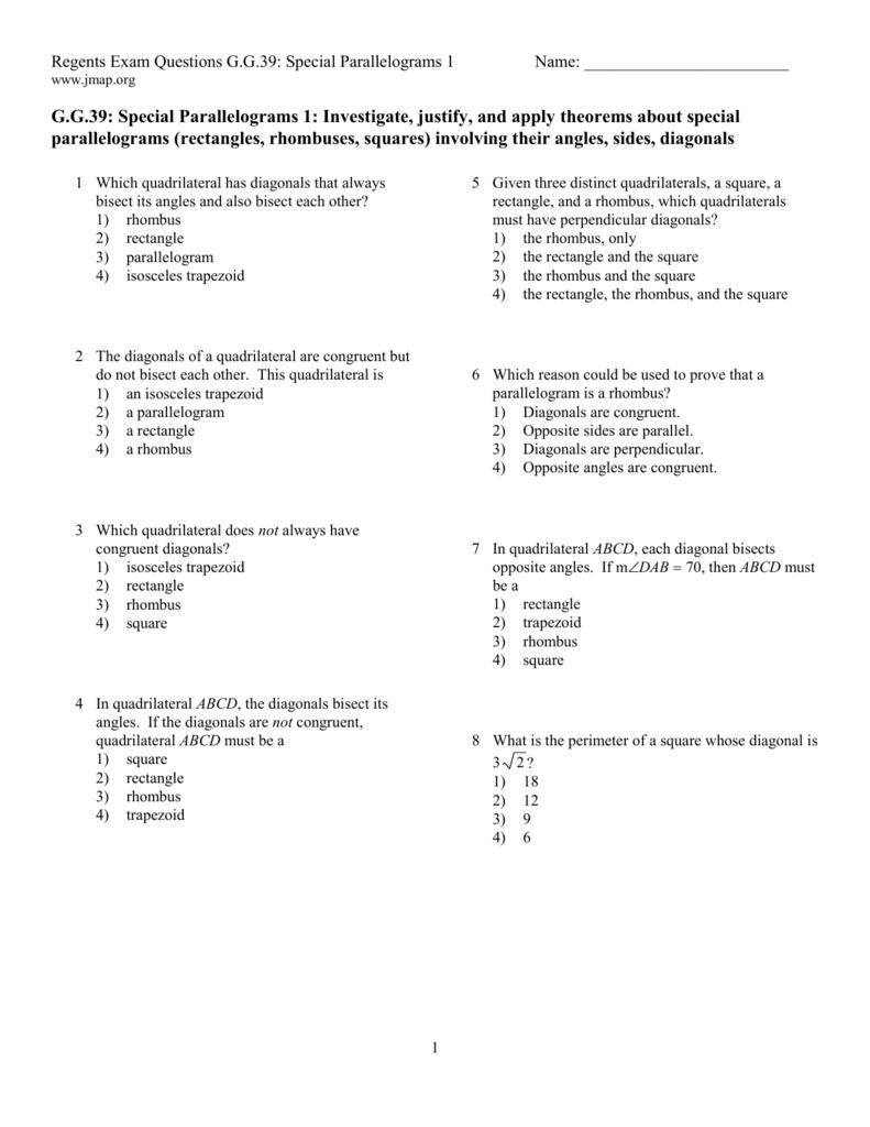 Worksheet Perimeter Of A Quadrilateral Special Parallelograms 1