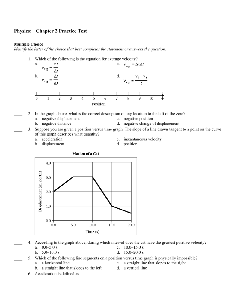 Physics Chapter 2 Practice Test – Distance and Displacement Practice Worksheet