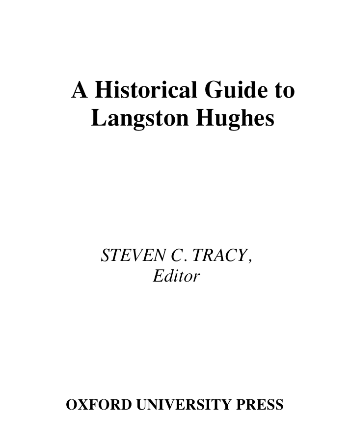 601f6768f369 A Historical Guide to Langston Hughes STEVEN C. TRACY