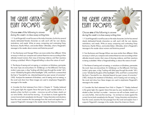 The Great Gatsby Essay Prompts The Great Gatsby Essay Prompts