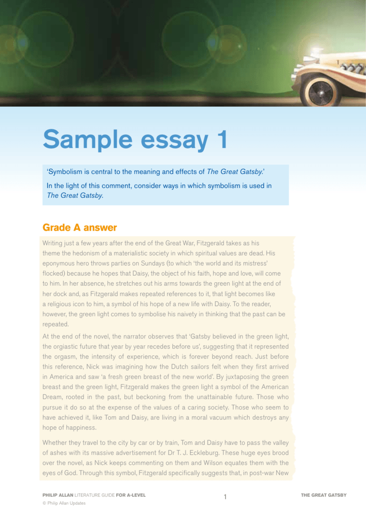 Sample Essay 1 Philip Allan Literature Guides Online