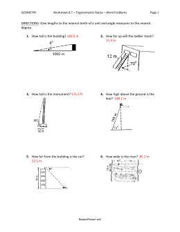 Worksheet 8 7 Trigonometric Ratios Word