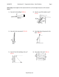 Worksheet 8.7 - Trigonometric Ratios- Word