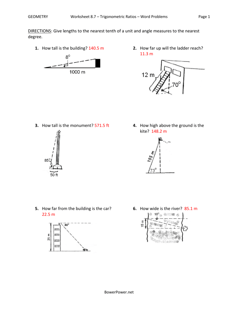 Worksheet 8 7 Trigonometric Ratios Word