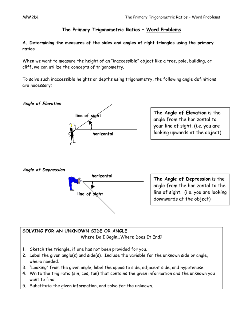The Primary Trigonometric Ratios Word Problems The Angle Of