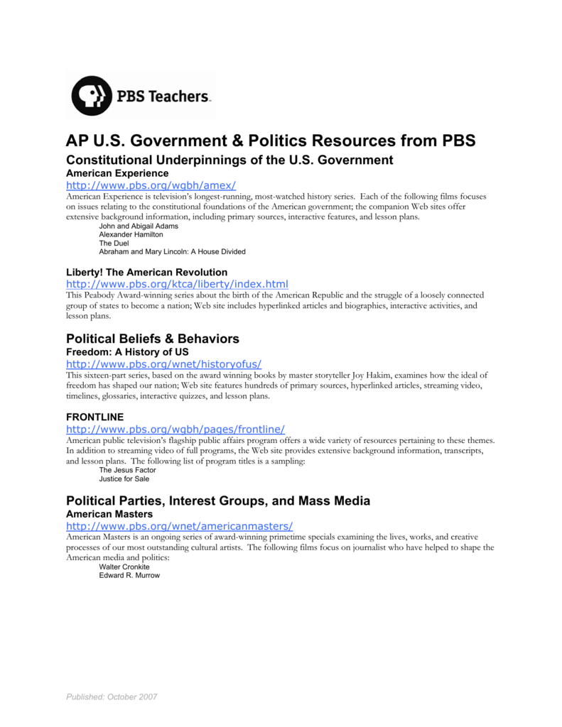 Ap Us Government Politics Resources From Pbs