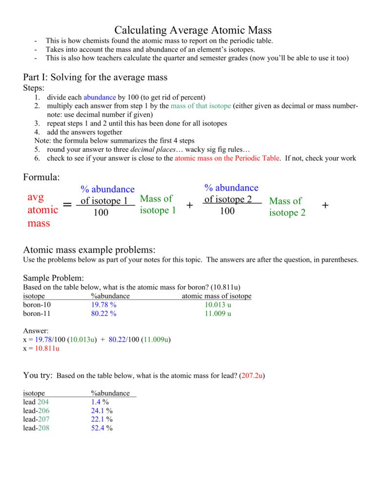 Calculating Average Atomic Mass avg atomic mass + +
