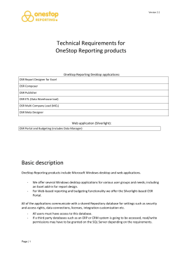 Technical Requirements for OneStop Reporting products Basic