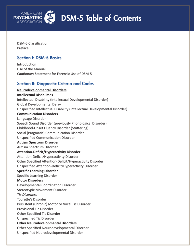 DSM-5 Table of Contents - American Psychiatric Association