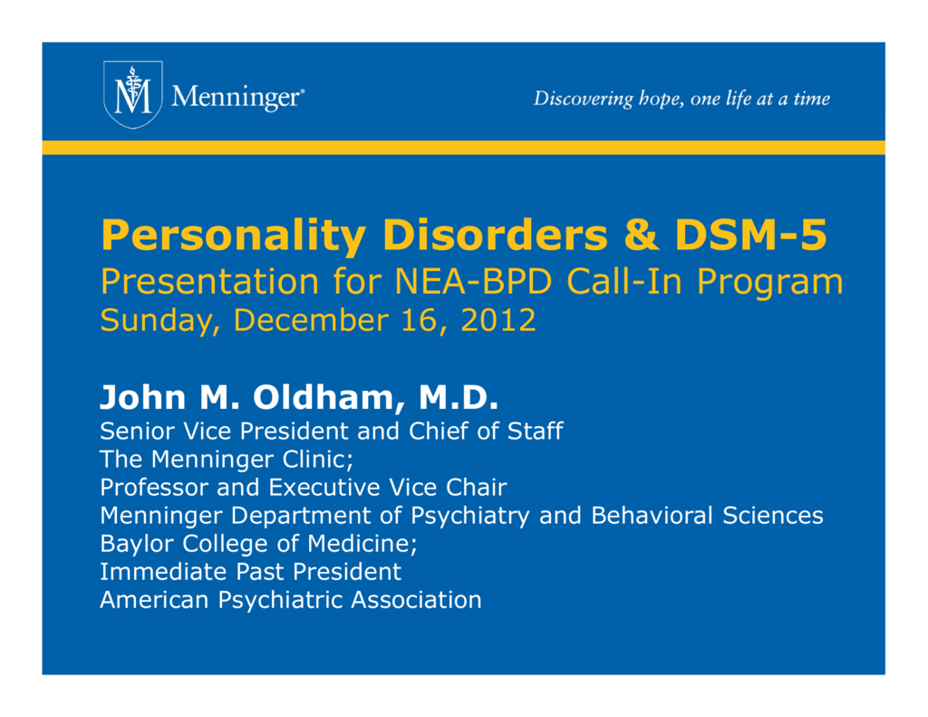 Personality Disorders & DSM-5 - Borderline Personality Disorder