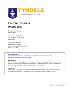 Course Syllabus - Tyndale University College & Seminary