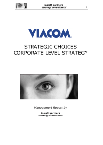 STRATEGIC CHOICES CORPORATE LEVEL STRATEGY