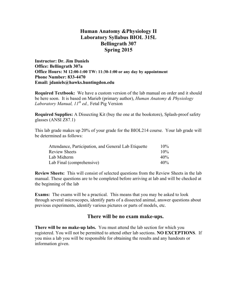 Human Anatomy &Physiology II Laboratory Syllabus BIOL 315L