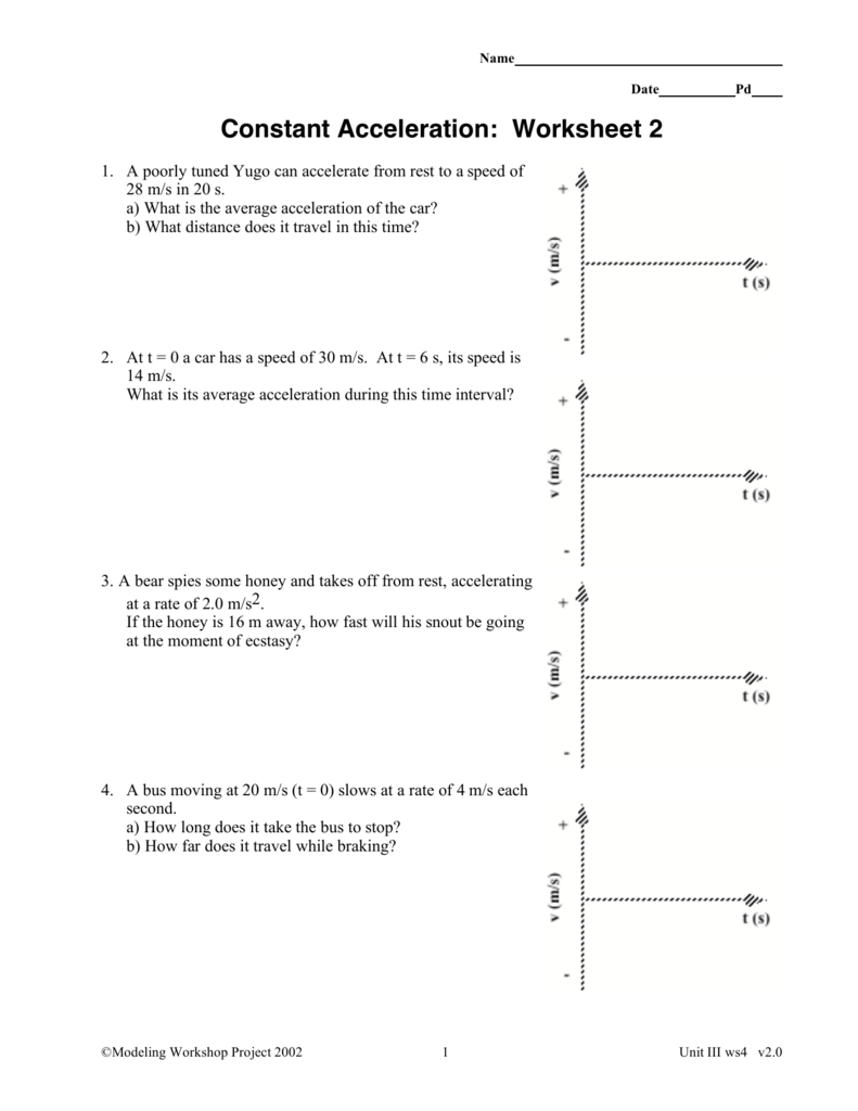 Worksheets Acceleration Worksheet With Answers constant acceleration worksheet 2