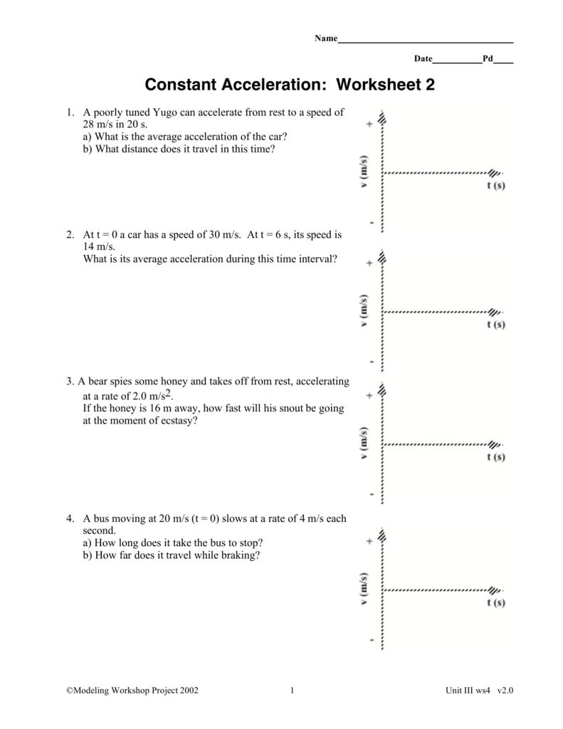Constant Acceleration: Worksheet 2
