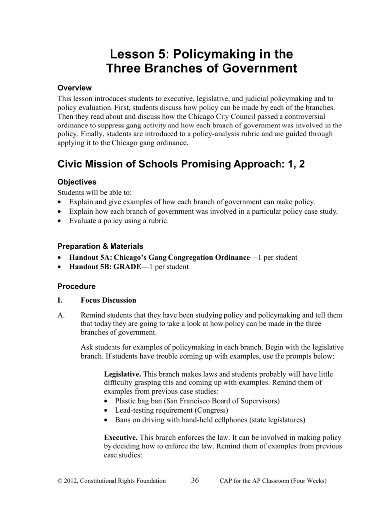 Lesson 5 Policymaking In The Three Branches Of Government