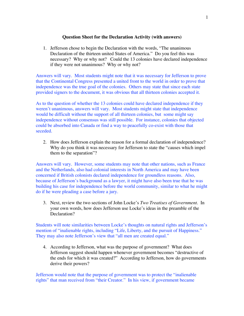 Workbooks thirteen colonies worksheets : 1 Question Sheet for the Declaration Activity (with answers) 1