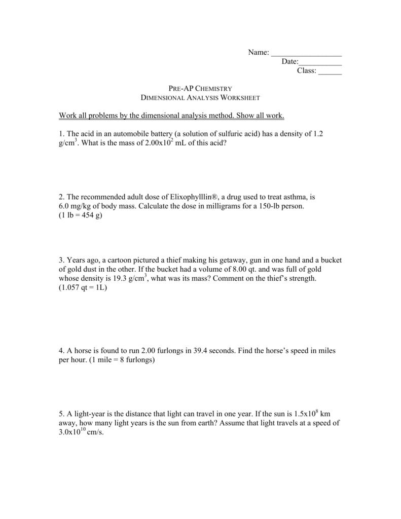 da worksheet 22 For Dimensional Analysis Practice Worksheet
