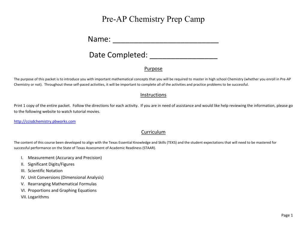 PreAP Chemistry Prep Online Packet