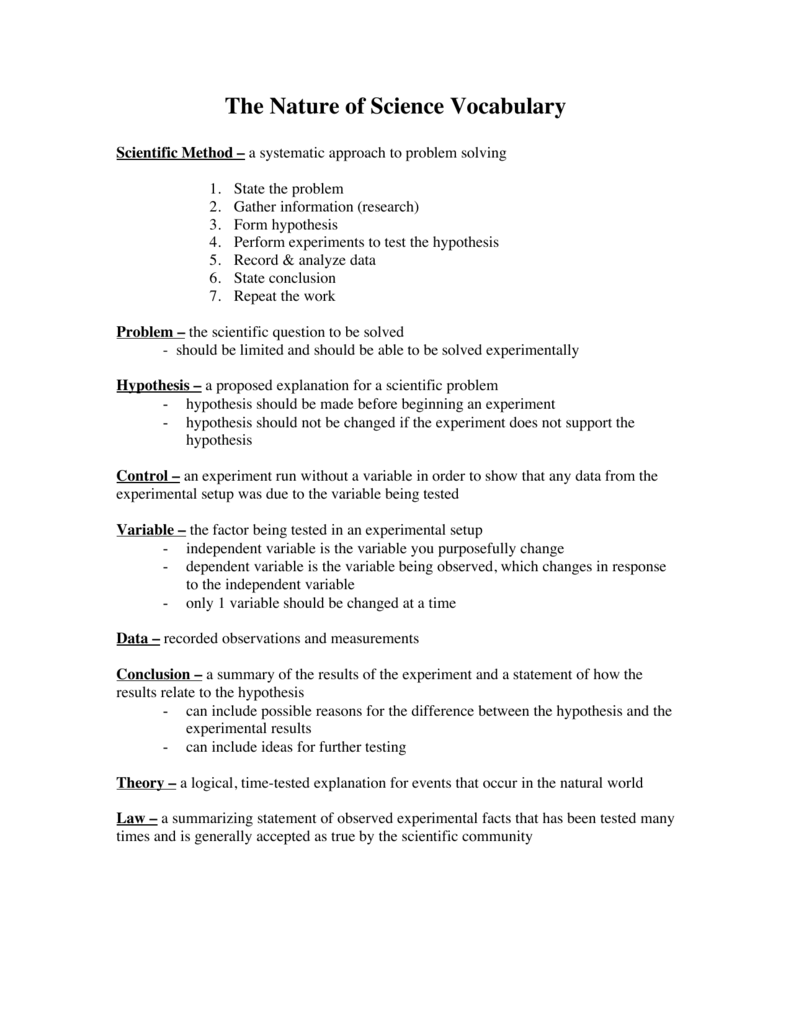 Science Vocabulary Worksheets : Nature of science vocabulary worksheet best free
