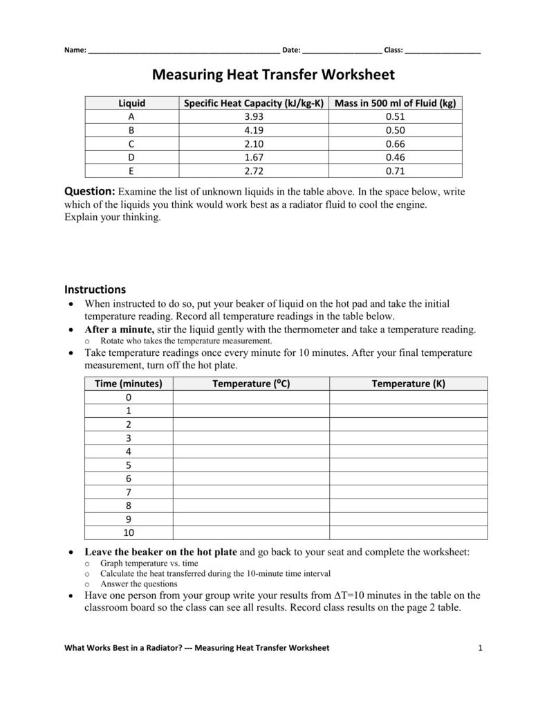 Measuring Heat Transfer Worksheet