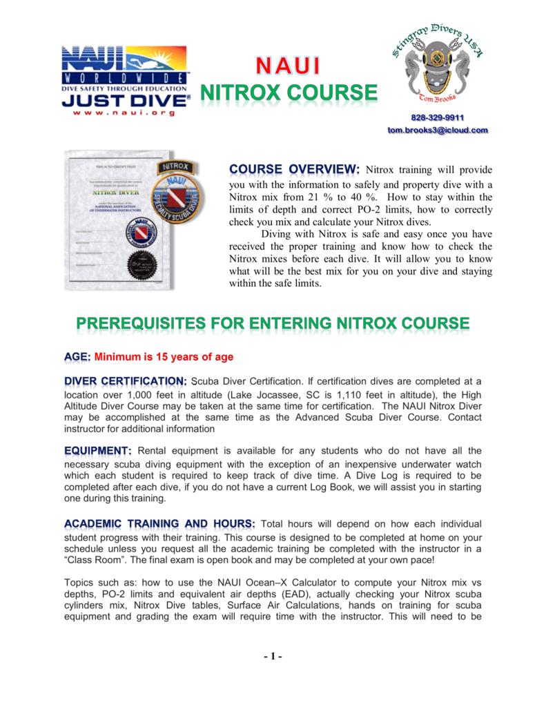 Naui Nitrox Diver Course