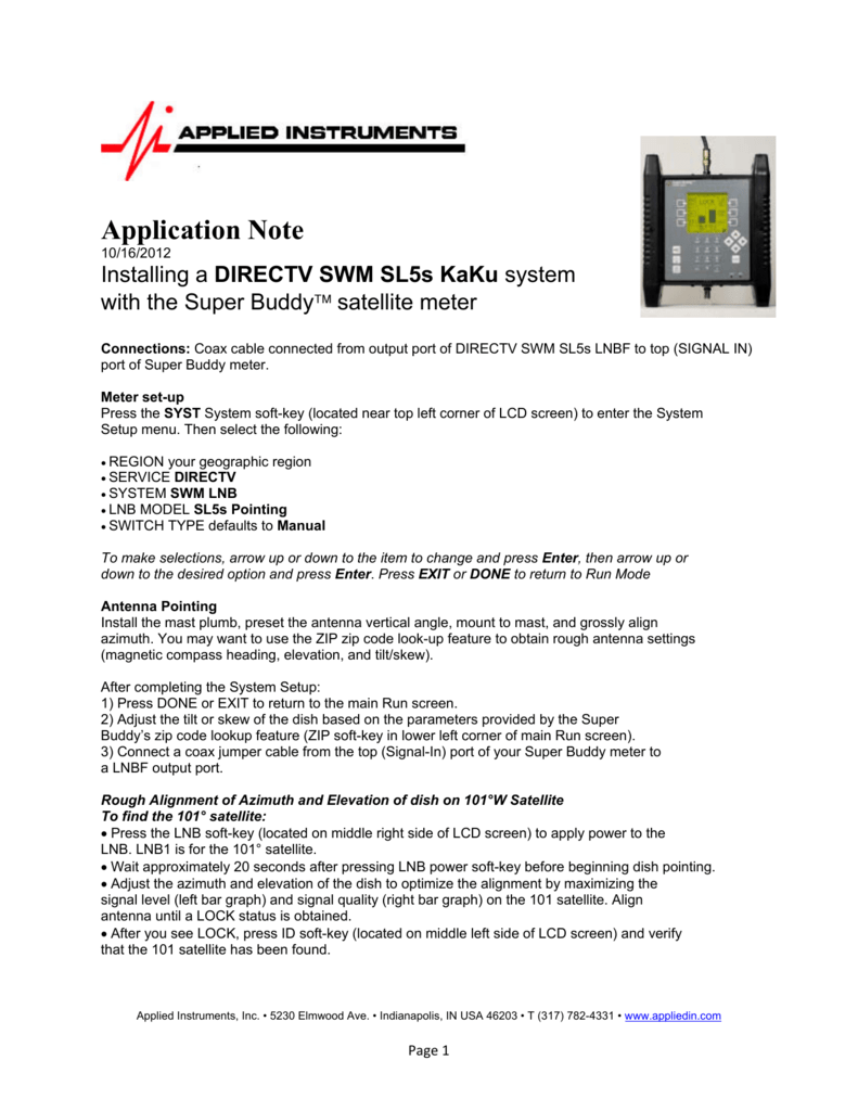 Installing DIRECTV SWM SL5S KaKu System Using Super Buddy