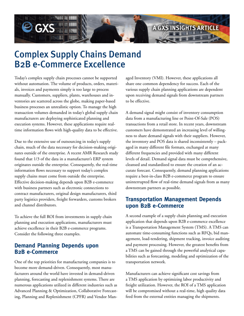 Complex Supply Chains Demand B2B e-Commerce