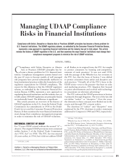 Managing UDAAP Compliance Risks in Financial Institutions