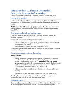 Introduction to Linear Dynamical Systems: Course Information