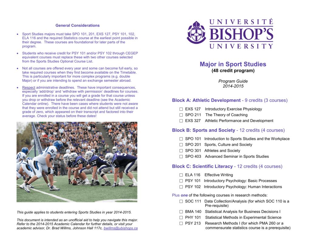 Sports Studies Major - Bishop's University