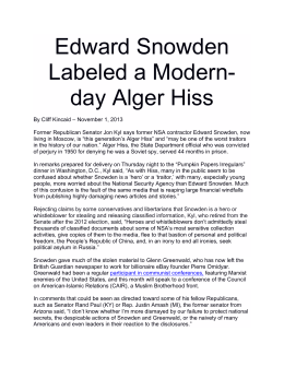Edward Snowden Labeled a Modern- day Alger Hiss