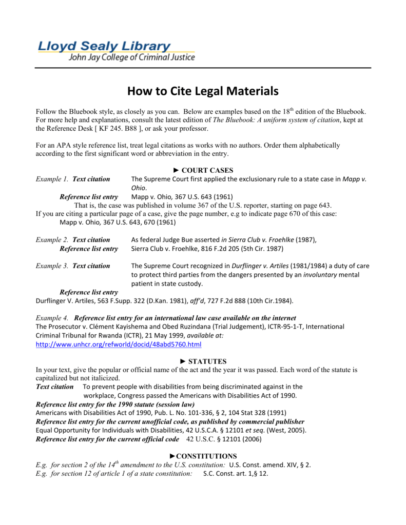 How to Cite Legal Materials