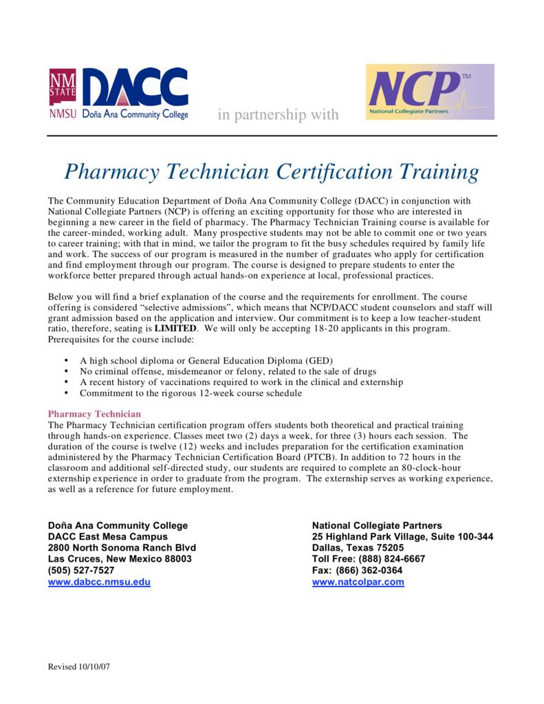Pharmacy Technician Certification Training