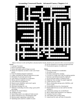 Accounting Crossword Puzzle: Advanced Course, Chapters 1-4
