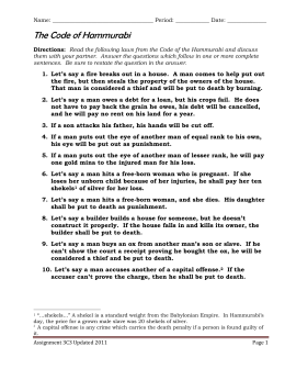 4c. Hammurabi's Code: An Eye for an Eye