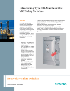 Heavy duty safety switches Introducing Type 316 Stainless Steel