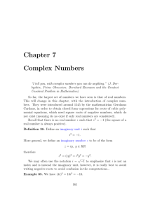 Chapter 7 Complex Numbers
