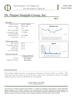 Dr. Pepper Snapple Group, Inc. - University of Oregon Investment