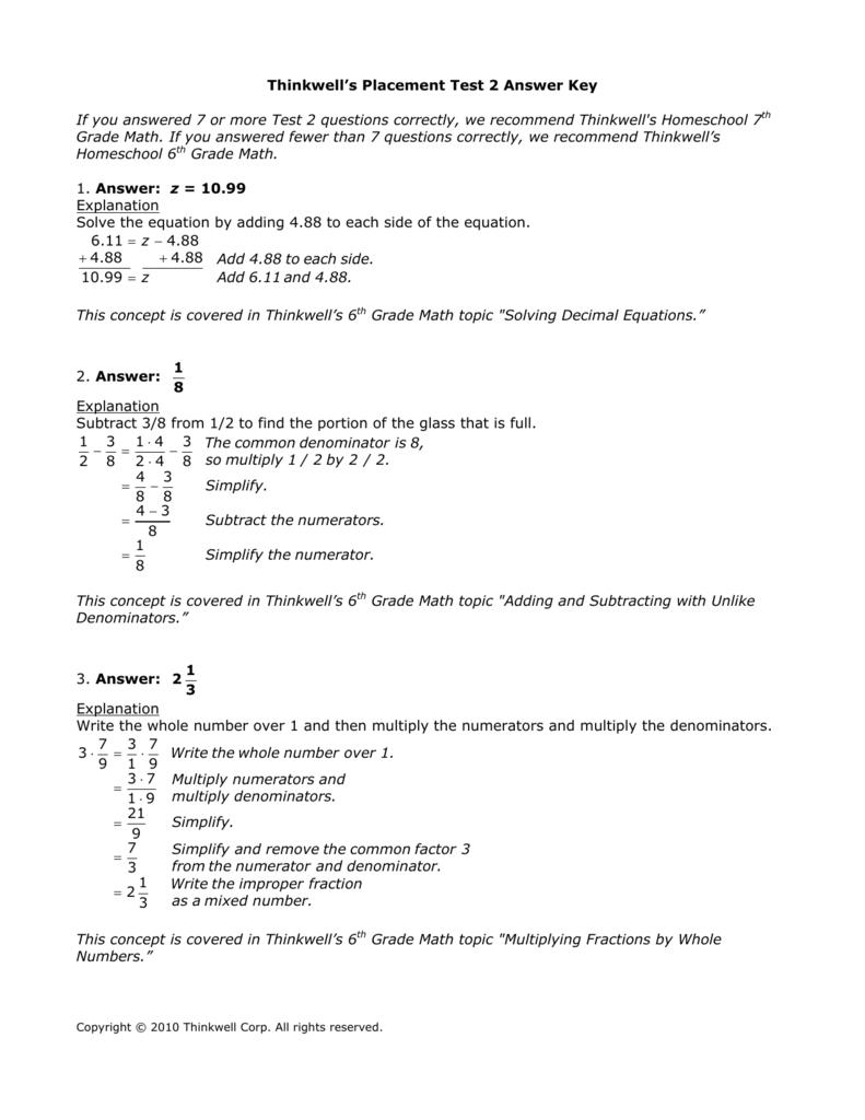 Answer Key - Thinkwell