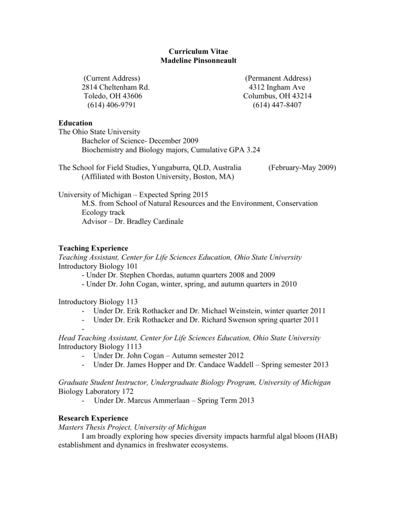 Curriculum Vitae Madeline Pinsonneault Current Address