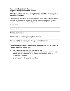 Exempt/Non-Exempt Status Worksheet for Managerial or Executive