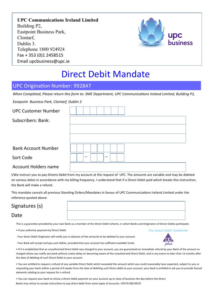 direct debit mandate - Direct Debit Form