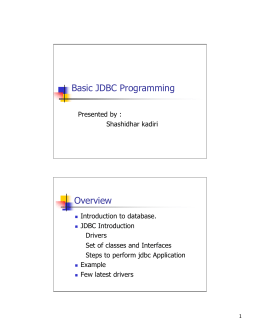 Basic JDBC Programming Overview